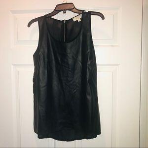 Olive & Oak Black Sleeveless Faux Leather Blouse